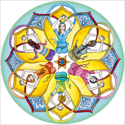 Yoga Circle Mandala, window sticker 14 cm