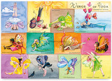 Wings of Yoga - yoga fairies, poster A3