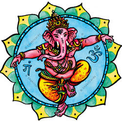 Dancing Ganesha, window sticker 14 cm